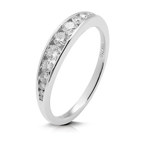 Anillo media alianza carril de oro blanco 18 Kt con diamantes