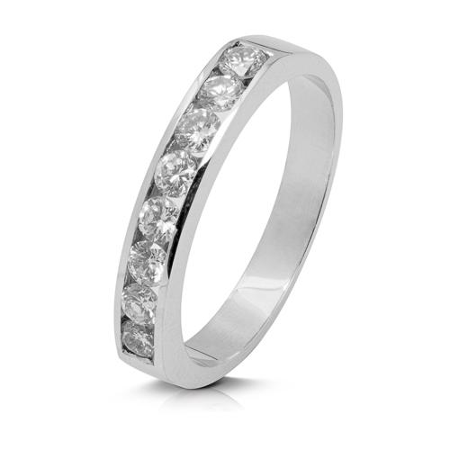 Anillo media alianza carril de oro blanco 18Kt con diamantes