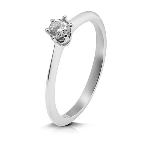 Anillo solitario de oro blanco 18 Kt con diamante