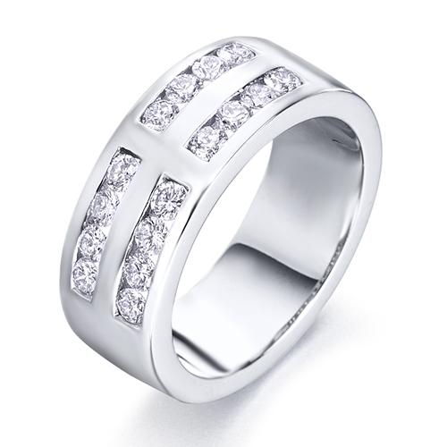 Anillo media alianza doble carril de oro blanco 18Kt con diamantes