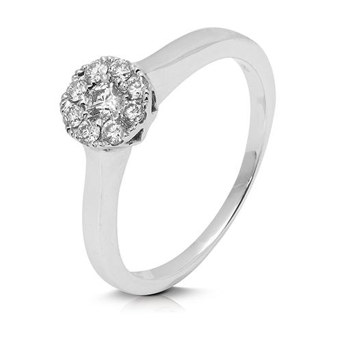 Anillo rosetón de oro blanco 18 Kt con diamantes