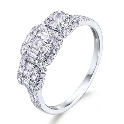 Anillo  diseño de oro blanco 18Kt con diamantes y trapecios