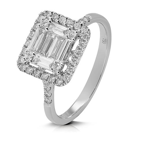 Anillo  diseño de oro blanco 18 Kt con diamantes y baguettes