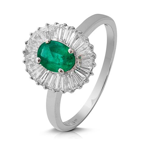 Anillo rosetón de oro blanco 18Kt con diamantes  y esmeralda