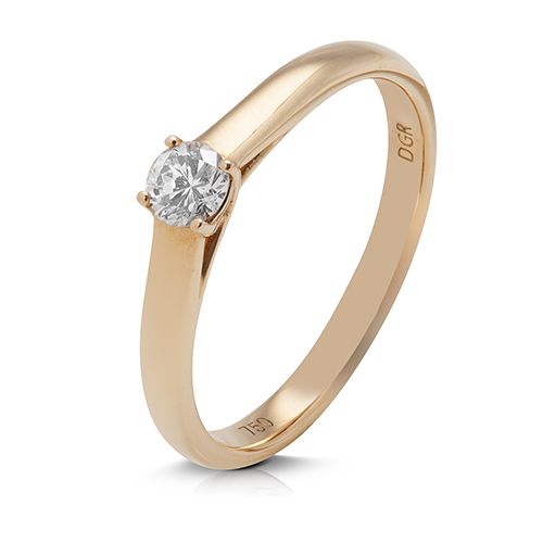 Anillo solitario de oro amarillo 18 Kt con diamante