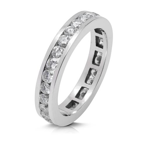Anillo alianza entera carril de oro blanco 18 Kt con diamantes