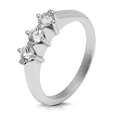Anillo media alianza grapas de oro blanco 18 Kt con diamantes