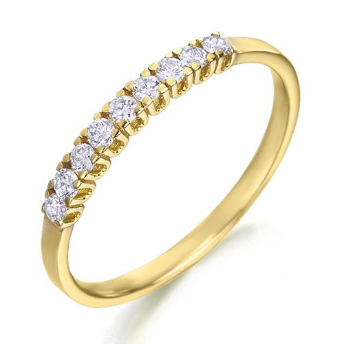 Anillo media alianza grapas de oro amarillo 18Kt con diamantes