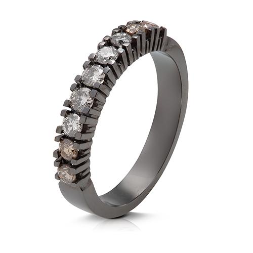 Anillo media alianza grapas de oro blanco y rodio negro 18 Kt con diamantes
