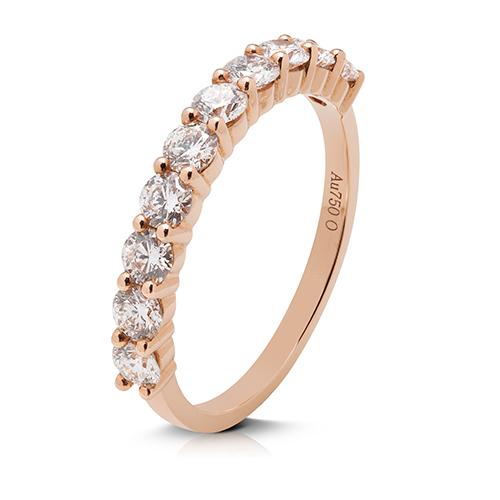 Anillo media alianza grapas de oro rosa 18 Kt con diamantes