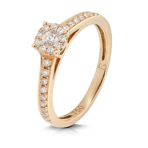 Anillo  diseño de oro amarillo 18 Kt con diamantes