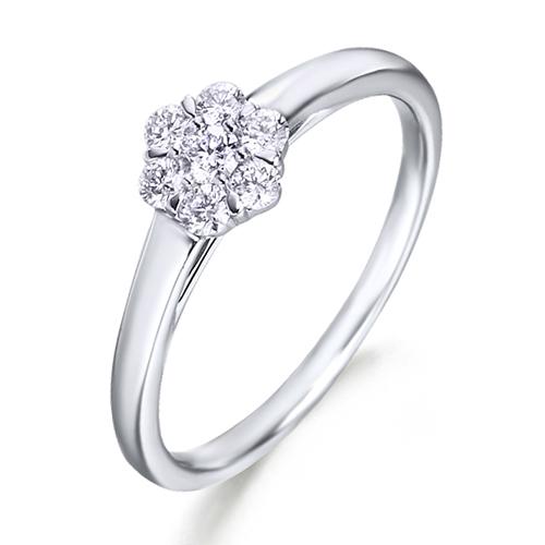 Anillo rosetón de oro blanco 18Kt con diamantes