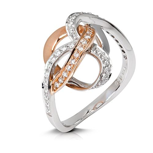 Anillo  diseño de oro combinado 18 Kt con diamantes