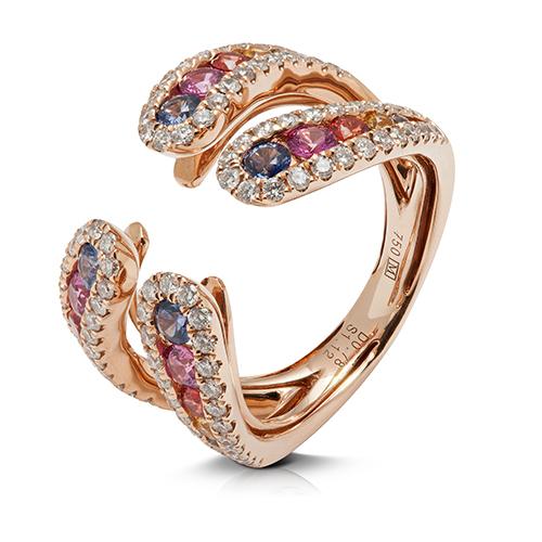 Anillo  diseño de oro rosa 18 Kt con diamantes y zafiros