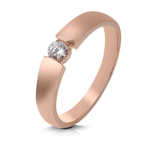Anillo solitario de oro rosa 18 Kt con diamante