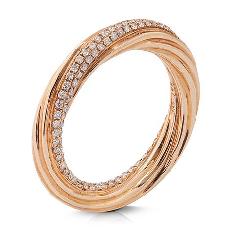 Anillo  diseño de oro rosa 18 Kt con diamantes