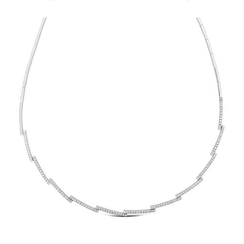 Collar  de oro blanco 18Kt con diamantes