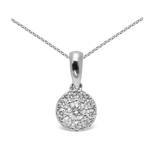 Colgante  diseño oro blanco de 18 Kt con diamantes