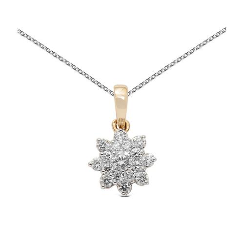 Colgante  roseton de oro combinado 18Kt con diamantes