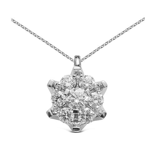 Colgante  diseño de oro blanco 18 Kt con diamantes