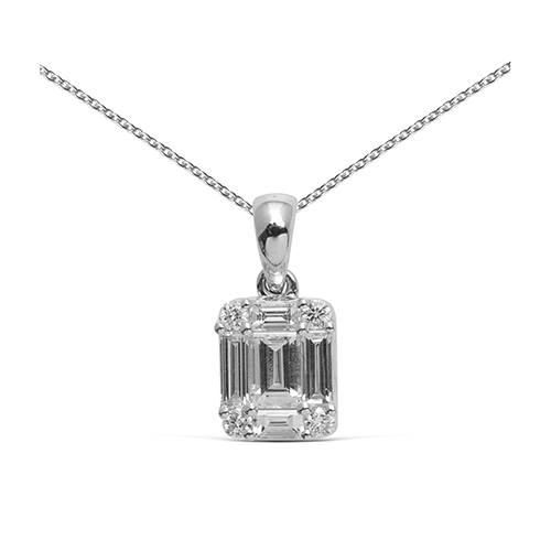 Colgante  diseño de oro 18 Kt con diamantes - baguettes