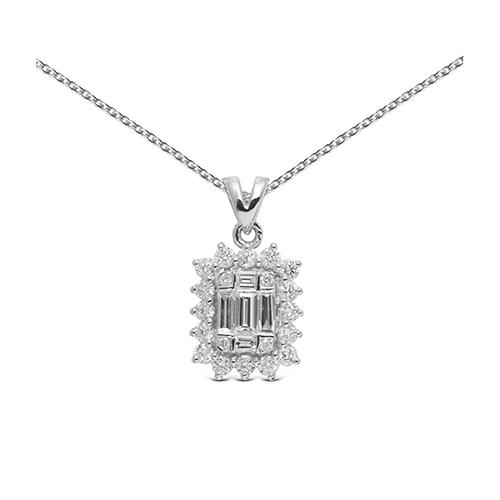 Colgante  diseño de oro blanco 18kt con diamantes