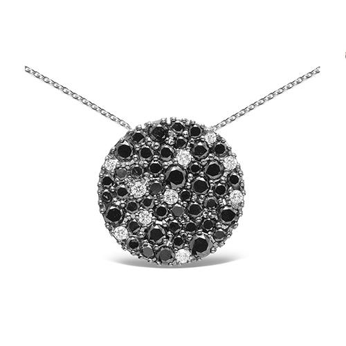 Colgante  diseño de oro blanco 18 Kt con diamantes blancos y negros