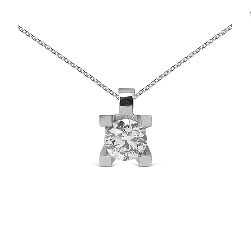 Colgante  grapas de oro blanco 18Kt con diamante