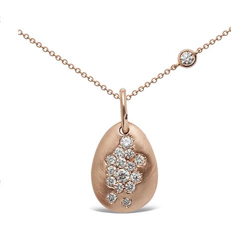 Colgante  diseño de oro rosa 18 Kt con diamantes