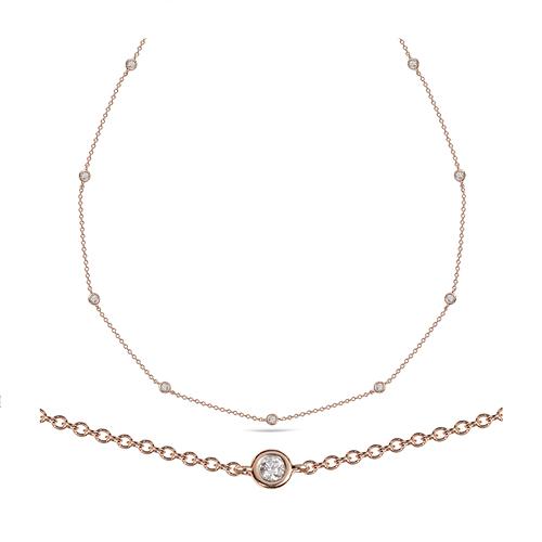 Collar  de oro rosa 18Kt con diamantes