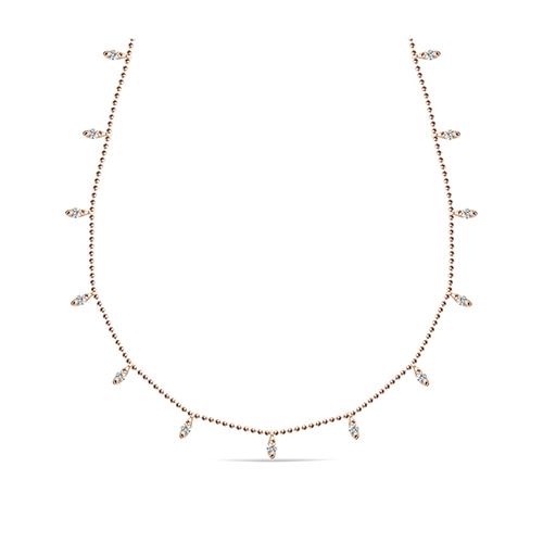 Collar  de oro rosa 18 Kt con diamantes