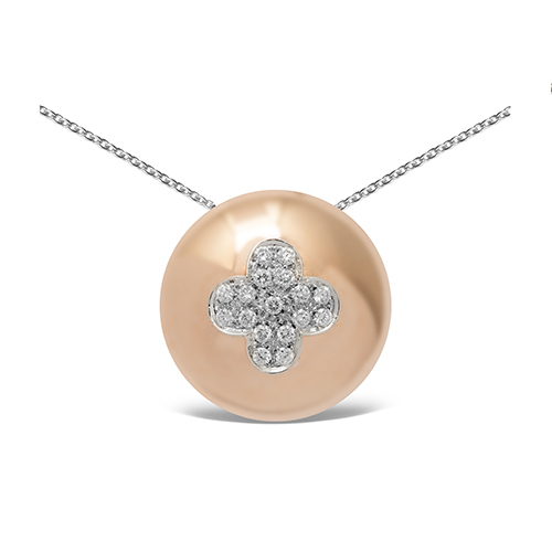 Colgante  diseño de oro combinado 18Kt con diamantes