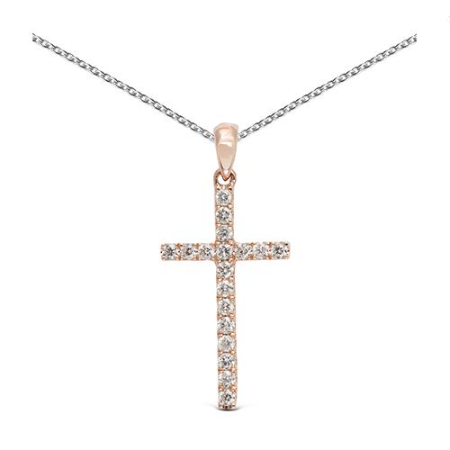 Colgante cruz de oro rosa 18kt con diamantes