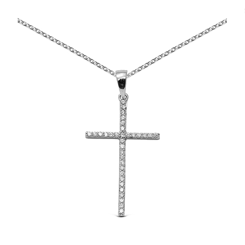 Colgante cruz de oro blanco 18 Kt con diamantes
