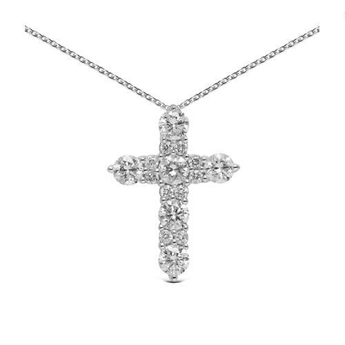 Colgante cruz de oro blanco 18kt con diamantes