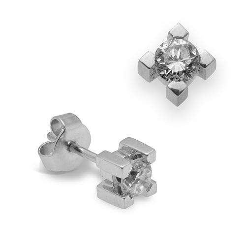 Pendientes dormilonas oro blanco 18Kt con diamantes