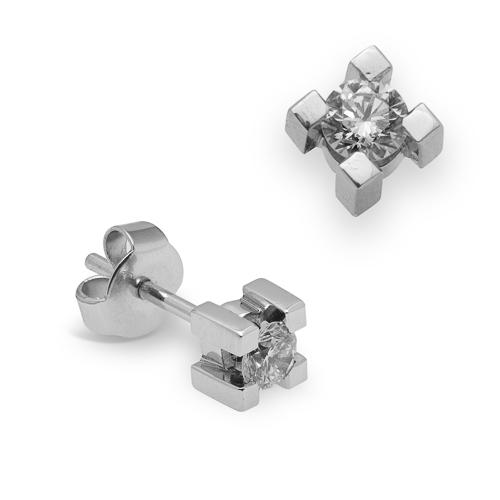 Pendientes dormilonas de oro blanco 18Kt con diamantes
