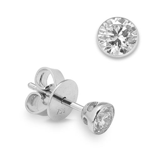 Pendientes dormilonas de oro blanco 18 kt con diamantes
