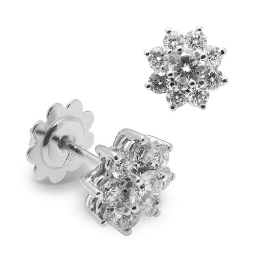 Pendientes rosetones de oro blanco 18Kt con diamantes