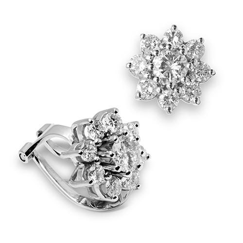 Pendientes rosetones de oro blanco 18 Kt con diamantes