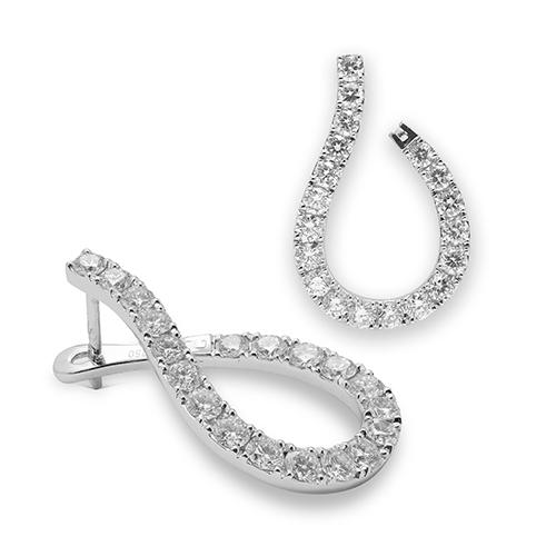 Pendientes criollas de oro blanco 18kt con diamantes