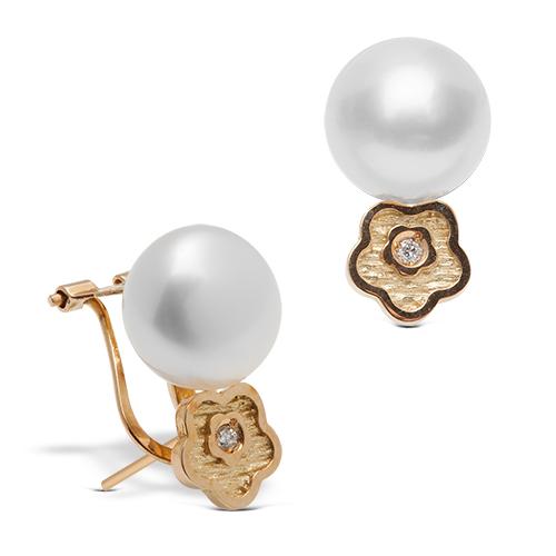 Pendientes tu y yo de oro amarillo 18Kt con diamantes y perlas japonesas