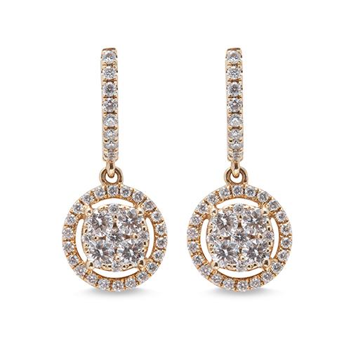 Pendientes  de oro amarillo 18kt con diamantes