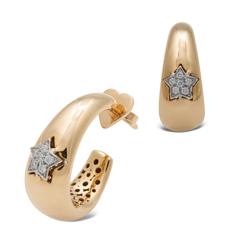 Pendientes  diseño de oro combinado 18Kt con diamantes