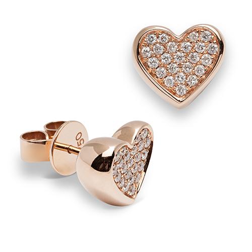 Pendientes  diseño de oro rosa 18 Kt con diamantes