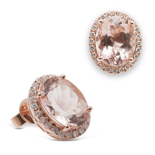 Pendientes  diseño de oro rosa 18Kt con diamantes